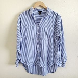 Forever 21 Blue & White Stripe Button Up Shirt, M